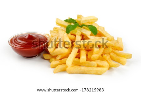 Fried Potato with tomato on white background - stock photo