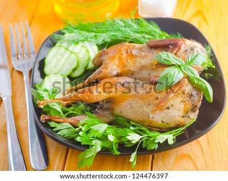 fried quail - stock photo