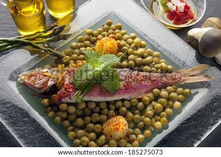 fried red mullet with vegetables - stock photo