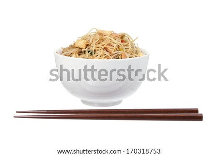 Fried Rice Noodles on White Background - stock photo