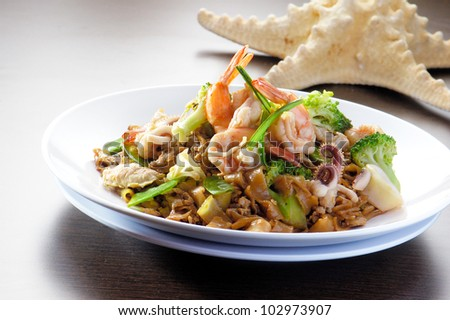 fried rice noodles with Seafood - stock photo