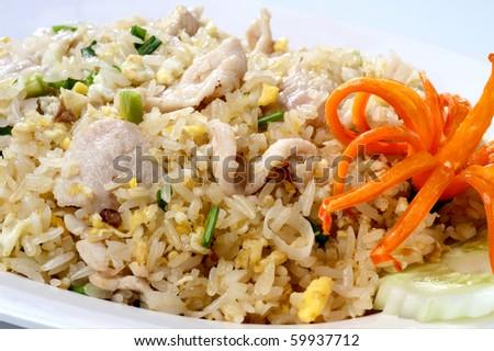 fried rice pork, chicken, beef on white background - stock photo