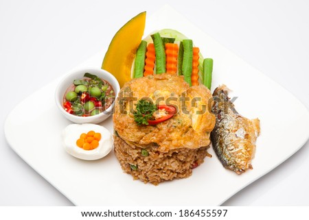 Fried rice with fish sauce - stock photo