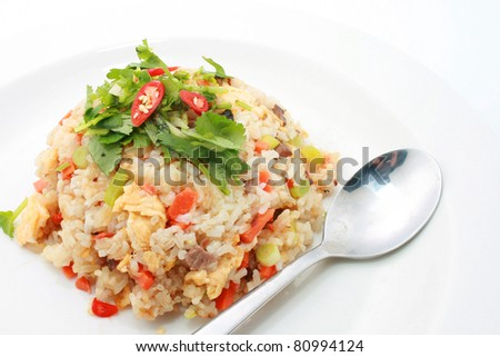 Fried Rice with Spoon - stock photo