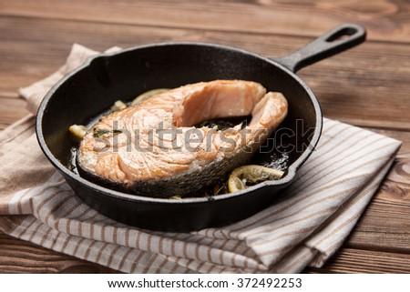 Fried salmon slice - stock photo