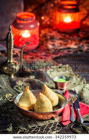 Fried samosa with vegetables and meat - stock photo