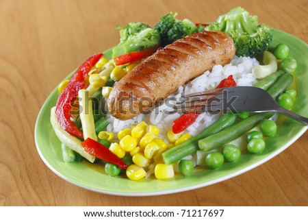 Fried sausage - stock photo
