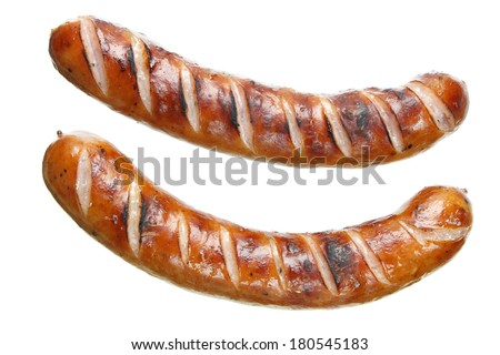 Fried sausages on white background - stock photo
