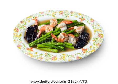 Fried shrimp / prawn with asparagus and vegetable in oyster sauce on white background. - stock photo