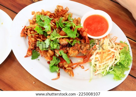 Fried Soft shell crab with garlic and pepper - stock photo