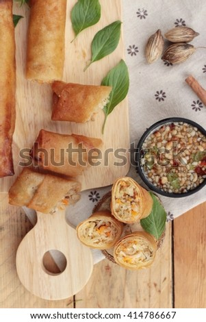 Fried spring rolls traditional for appetizer food - stock photo