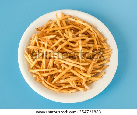 Fried sweet potato chip,crispy and delicious snack from nature, good for healthy food. - stock photo