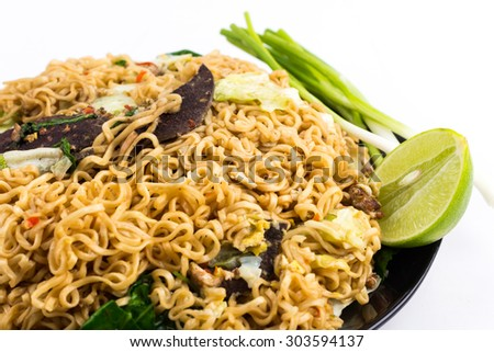 Fried Thai Mama Instant Noodles - stock photo