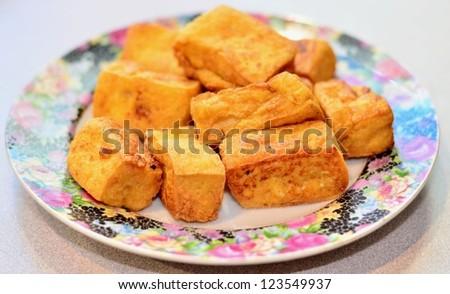 Fried tofu dish - stock photo