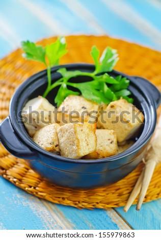 fried tofu with spice - stock photo