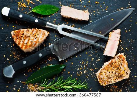 Fried tuna steak - stock photo