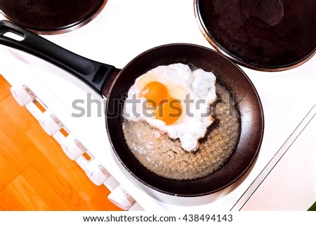 Fried twin eggs in a pan. - stock photo