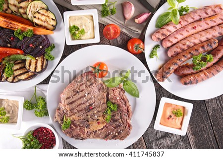 fried vegetable and meat,barbecue - stock photo