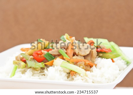 Fried Vegetables with pork and squid on steamed rice in white dish. - stock photo