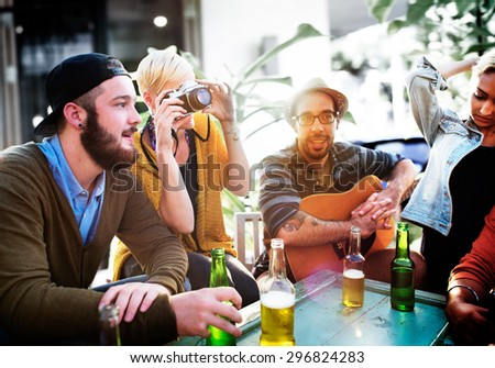 Friend Celebrate Party Picnic Joyful Lifestyle Drinking Concept - stock photo