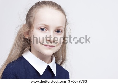 Friendly and Beautiful Caucasian Blond Girl with Wonderful Deep Eyes. Positive Facial Expression. Posing Against White. Horizontal Image Composition - stock photo