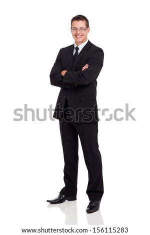 friendly business man in a suit with arms folded isolated on white - stock photo
