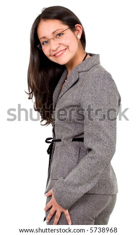 friendly business woman portrait - isolated over a white background - stock photo
