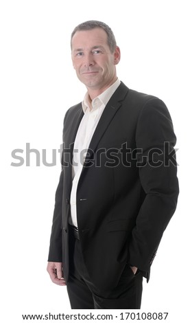 friendly businessman in front of white background - stock photo