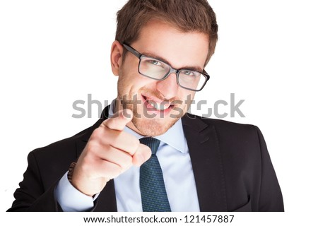 Friendly businessman pointing his finger at you. Isolated on white - stock photo
