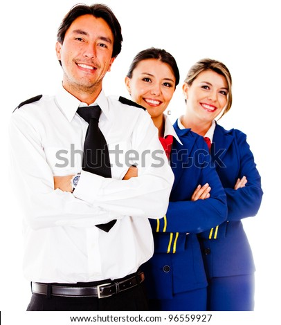 Friendly cabin crew smiling �¢?? isolated over a white background - stock photo