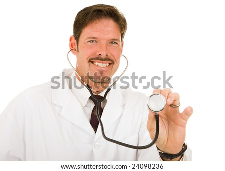 Friendly caring doctor about to examine you.  Isolated on white. - stock photo