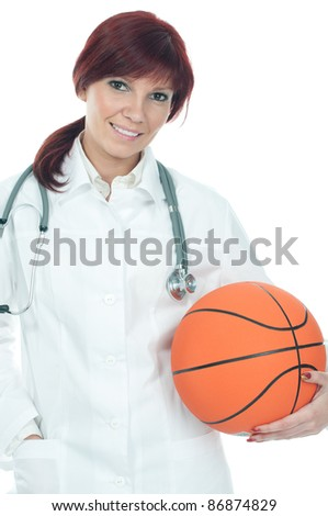 Friendly caucasian female doctor with basketball, isolated over a white background - stock photo
