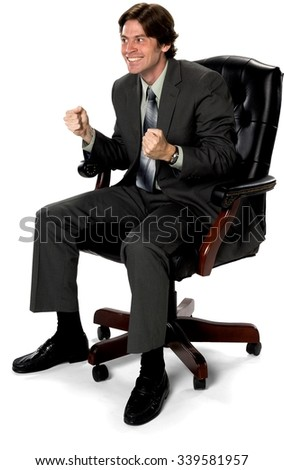 Friendly Caucasian man with short dark brown hair in business formal outfit cheering - Isolated - stock photo