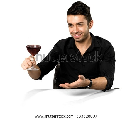 Friendly Caucasian man with short dark brown hair in casual outfit holding wine glass - Isolated - stock photo
