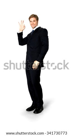 Friendly Caucasian man with short medium blond hair in business formal outfit showing ok sign - Isolated - stock photo