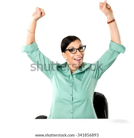 Friendly Caucasian woman dark brown in business casual outfit with arms open - Isolated - stock photo
