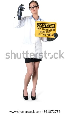 Friendly Caucasian young woman dark brown in uniform using prop - Isolated - stock photo