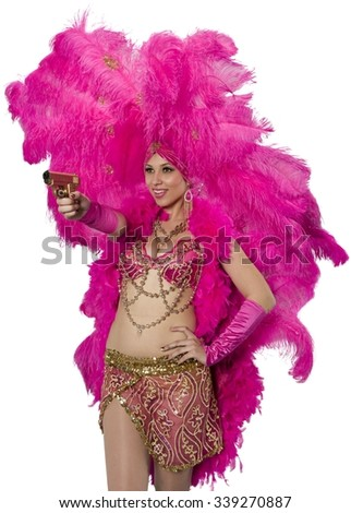 Friendly Caucasian young woman in costume using handgun - Isolated - stock photo