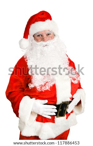 Friendly, classic Santa Claus Isolated on white background. - stock photo