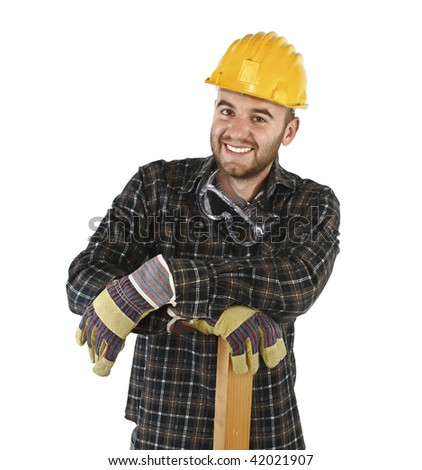 friendly confident manual worker isolated on white background - stock photo