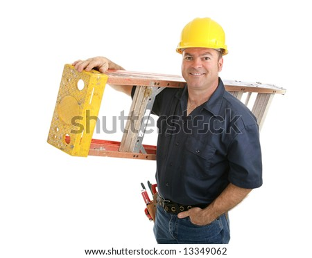 Friendly construction worker carrying ladder.  Isolated on white background. - stock photo