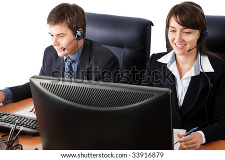 Friendly customer support team over a white background - stock photo