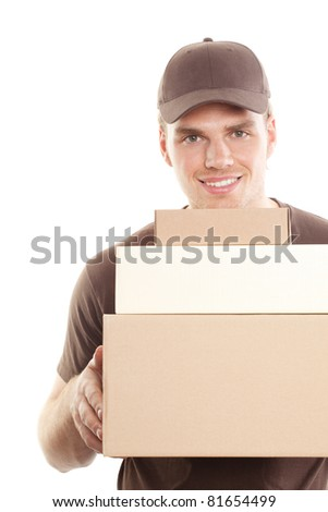 friendly deliveryman with package - stock photo