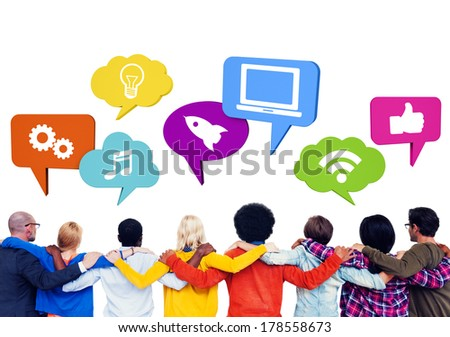 Friendly Diverse People with Speech Bubbles and Social Media Theme - stock photo