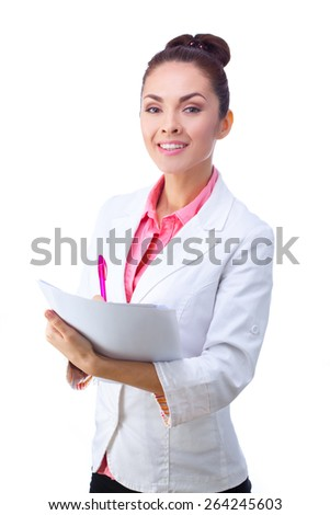 Friendly doctor holding clipboard. All isolated on white background. - stock photo