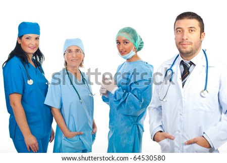 Friendly doctor man   in white coat and surgeons women team isolated on white background - stock photo