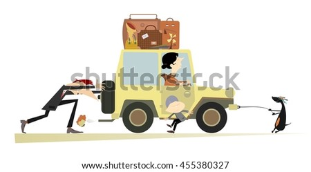 Friendly family and a broken car. Father, sun and dog push the broken car with mother in it   - stock photo