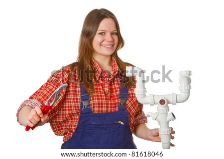 Friendly female plumber with pipe  and syphon isolated on white background - stock photo
