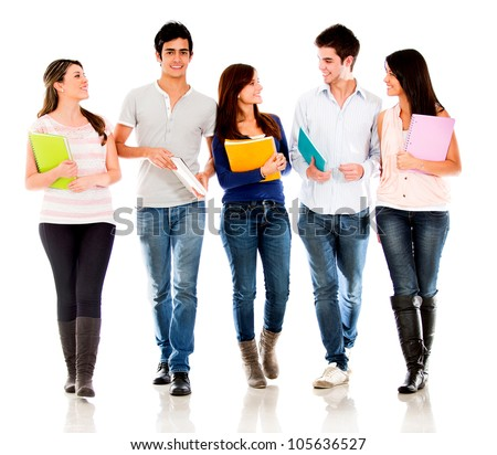 Friendly group of students talking  - isolated over a white background - stock photo