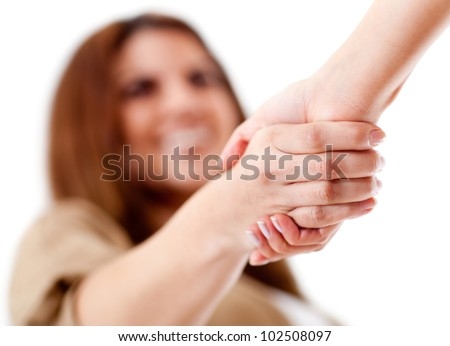 Friendly handshake - isolated over a white background - stock photo